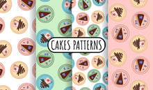 Set Of Colorful Cake Slices Wi...