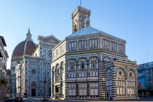 Cathedral Of Santa Maria Del Fiore And Baptistery Of St. John Battistero Of San Giovanni Early Morning At Sunrise, Florence, Tuscany, Italy