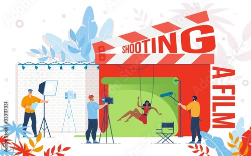 Cuadros en Lienzo Cinematography Industry, Video Content Production Company, Movie Making Team Work Trendy Flat Vector Concept