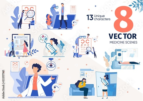Vaccination Against Viruses, Sight Problems, Eye Diseases Treatment, Medical Insurance Trendy Flat Vector Scenes, Concepts Set Fototapet