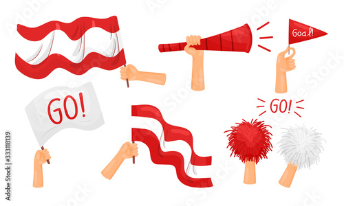 Photo Fan Attributes and Symbols with Flag and Trumpet Vector Set