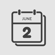 Icon Calendar Day 2 June, Summer Days Of The Year