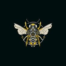 Abstract Bee Steam Punk Illustration Logo