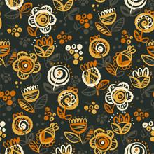 60s Vibes Orange On Black Flor...
