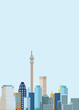 canvas print picture - Flat Illustration. Awesome city view on Capital Building Tower, Johannesburg. Enjoy the travel. Around the world. Quality vector poster. South Africa