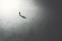 Man Walking In The Night Towar...