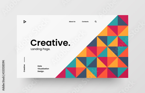 Obraz Creative horizontal website screen part for responsive web design project development. Abstract geometric pattern banner layout mock up. Corporate landing page block vector illustration template. - fototapety do salonu