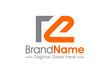 logo letter R E linked line