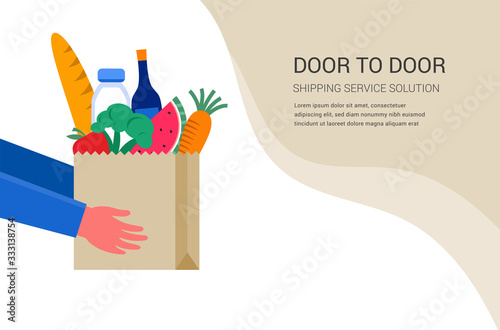 Food delivery service concept, online order tracking. Warehouse, truck and scooter courier, with a delivery man in a respirator mask. Vector illustration