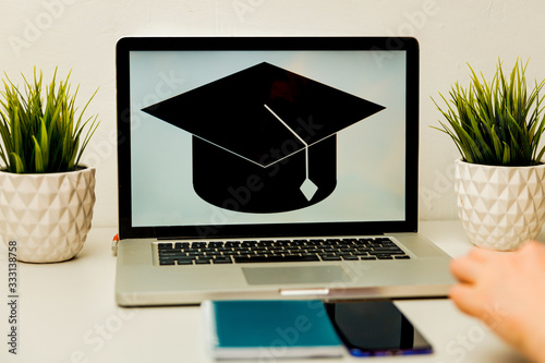Photo girl reading college or university application or document from school