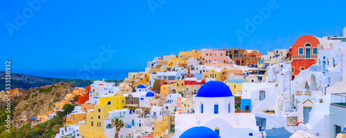 Oia, Santorini, Greece in cyclades island with colorful houses and blue church d Wallpaper Mural