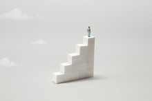 Man On The Top Of Stairs Observing The Future; Surreal Concept