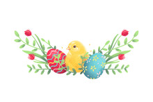 Easter Eggs With Chick And Flowers