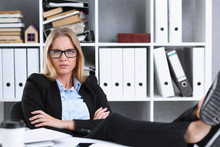Business Woman Resting In The ...