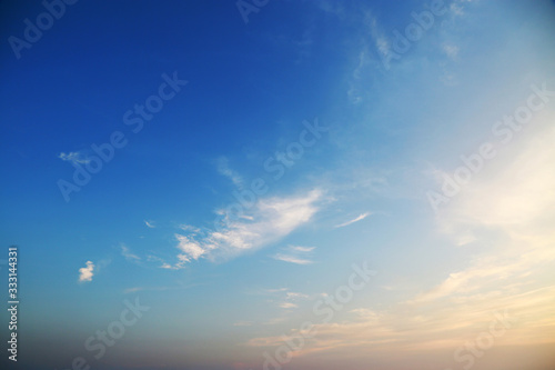 Blue sky with cloud and empty area for text, Nature concept for presentation background, Beautiful colorful sky with sunlight and concept fresh air for health, Healthy concept in fresh atmosphere Canvas Print