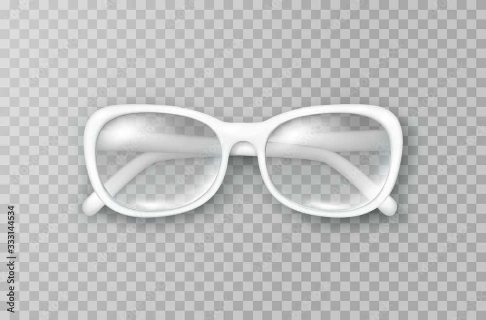 Fototapeta Glasses isolated on transparent background. White fashion woman eyeglasses with shade top view. Vector 3d optical eyewear product template..