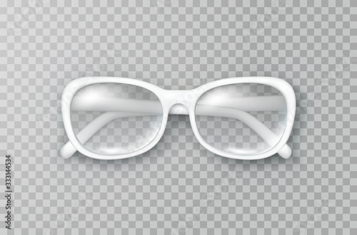 Obraz Glasses isolated on transparent background. White fashion woman eyeglasses with shade top view. Vector 3d optical eyewear product template.. - fototapety do salonu