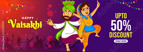 Obraz na plátně Banner, web header illustration of punjabi couple dancing on celebration of vaisakhi festival of india