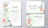 Fototapeta Kwiaty - Wedding invitation card set template with beautiful colorful  floral and leaves
