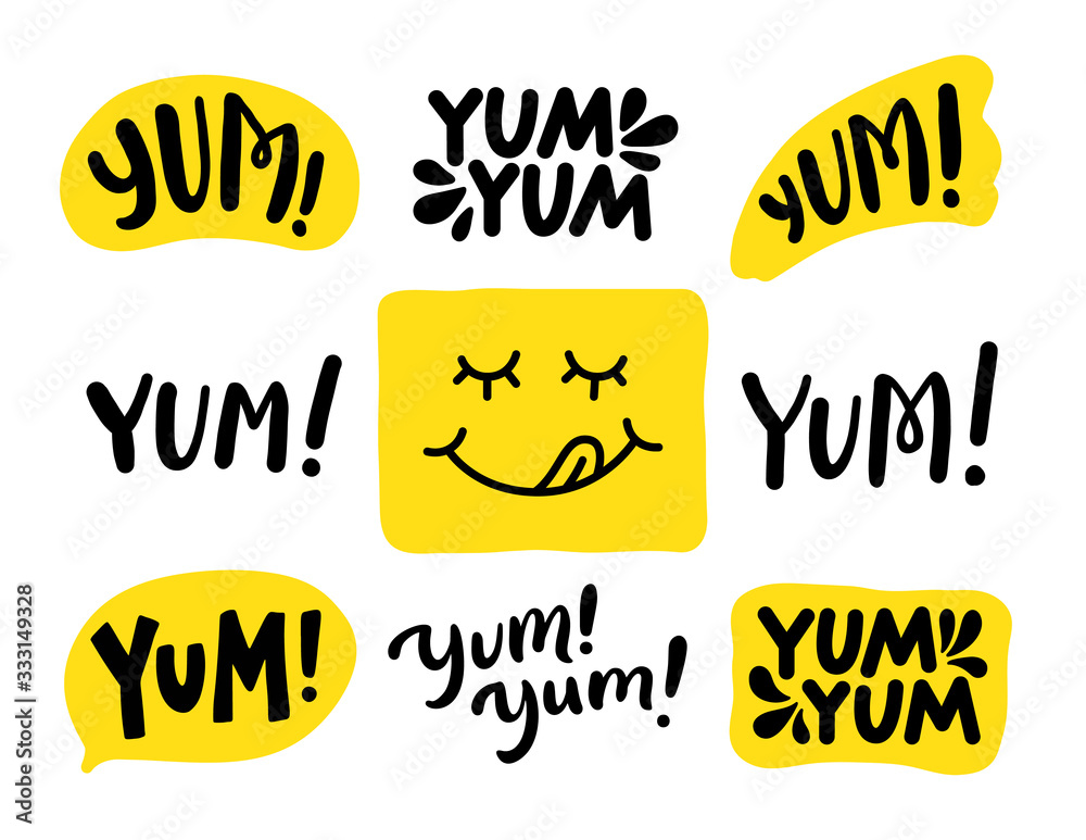 Fototapeta Yum Yum words set. Printable graphic tee. Design doodle for print. Vector illustration. Colorful. Cartoon hand drawn calligraphy style. Yellow Black and white