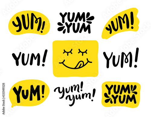 Photo Yum Yum words set