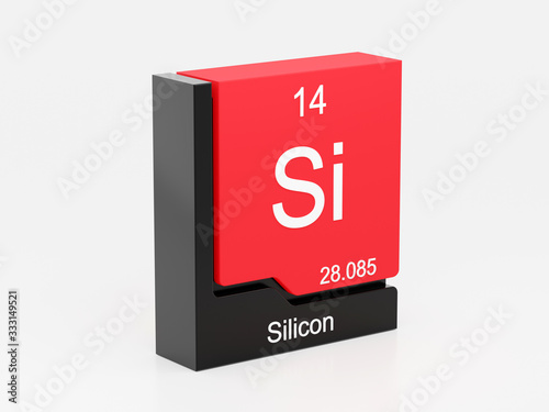 Foto Silicon, periodic table element modern icon series, 3D rendered on white backgro