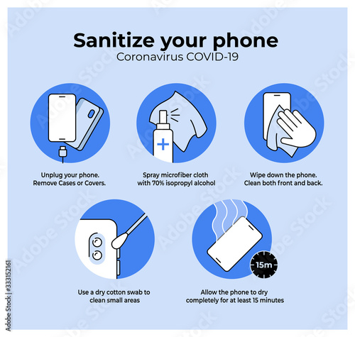 Photo Simple Coronavirus Instruction showing how to sanitize mobile phone during Covid-19 outbreak