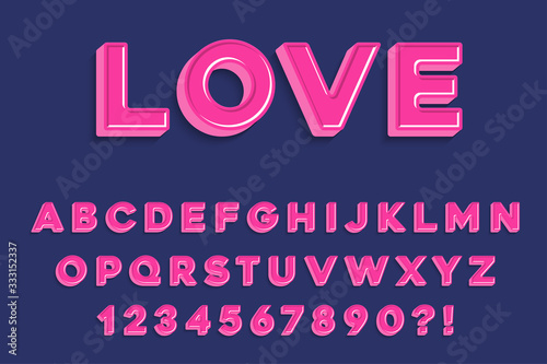 Photo Modern 3D madness pink  Alphabet Letters, Numbers and Symbols