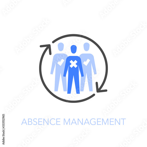 Employee absence management symbol with a group of people and refresh arrows Canvas Print