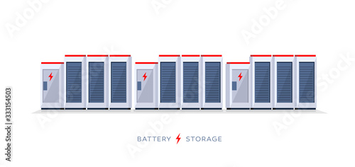 Obraz Vector illustration of large rechargeable lithium-ion battery energy storage stationary for renewable electric power station generation. Backup power energy storage cloud system on white background. - fototapety do salonu