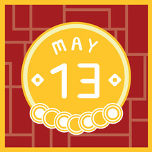 May 13, Calendar Icon Illustration Isolated Sign Symbol, Sale Promotion.