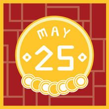May 25, Calendar Icon Illustration Isolated Sign Symbol, Sale Promotion.