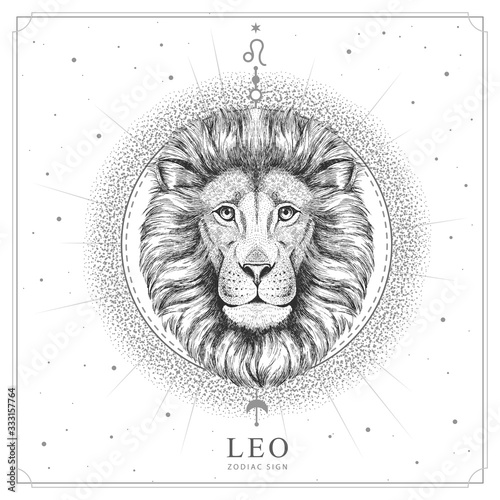 Fotografia Modern magic witchcraft card with astrology Leo zodiac sign