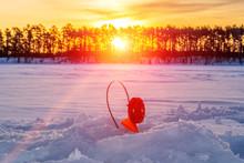 Winter Landscape Fishermen On ...