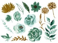 Watercolor Illustration Botanical Rose Teal And Gold Black Peony Bunch Foliage Ranunculus Wild Flower  Leaves Collection Blossom Leaves Hand