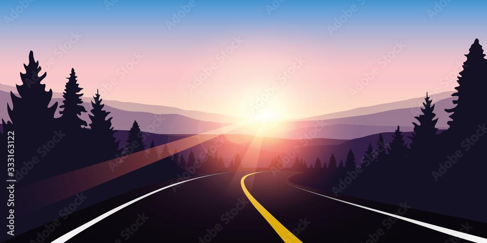 Fototapeta asphalt highway in a forest at sunrise purple travel landscape vector illustration EPS10