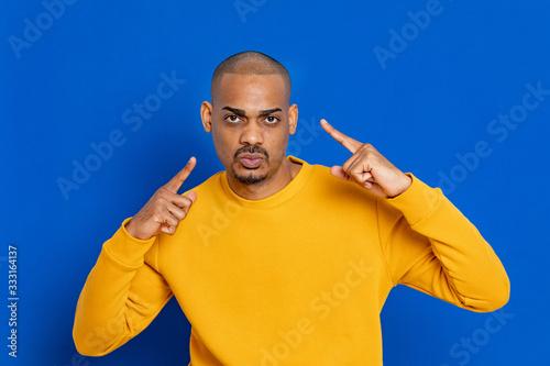 Fototapeta African guy with yellow jersey obraz na płótnie