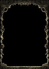Fantasy monsters ornamental frame/ Illustration decorative fantasy medieval frame with monsters bodies. Digital painting