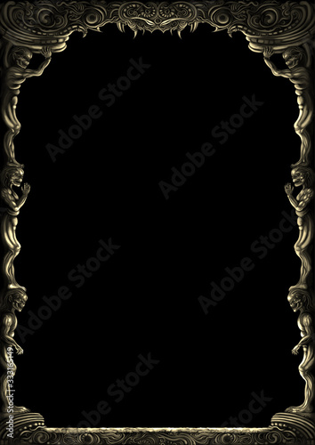 Tableau sur Toile Fantasy monsters ornamental frame/ Illustration decorative fantasy medieval frame with monsters bodies