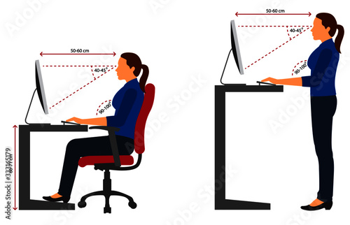 Fotomural Correct sitting and standing posture when using a computer