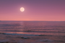 Seascape With Full Moon On The...