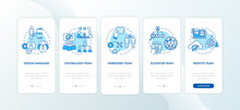 Teamwork Types Onboarding Mobile App Page Screen With Concepts Set. Business Partner. Assignment Delegation Walkthrough 5 Steps Graphic Instructions. UI Vector Template With RGB Color Illustrations