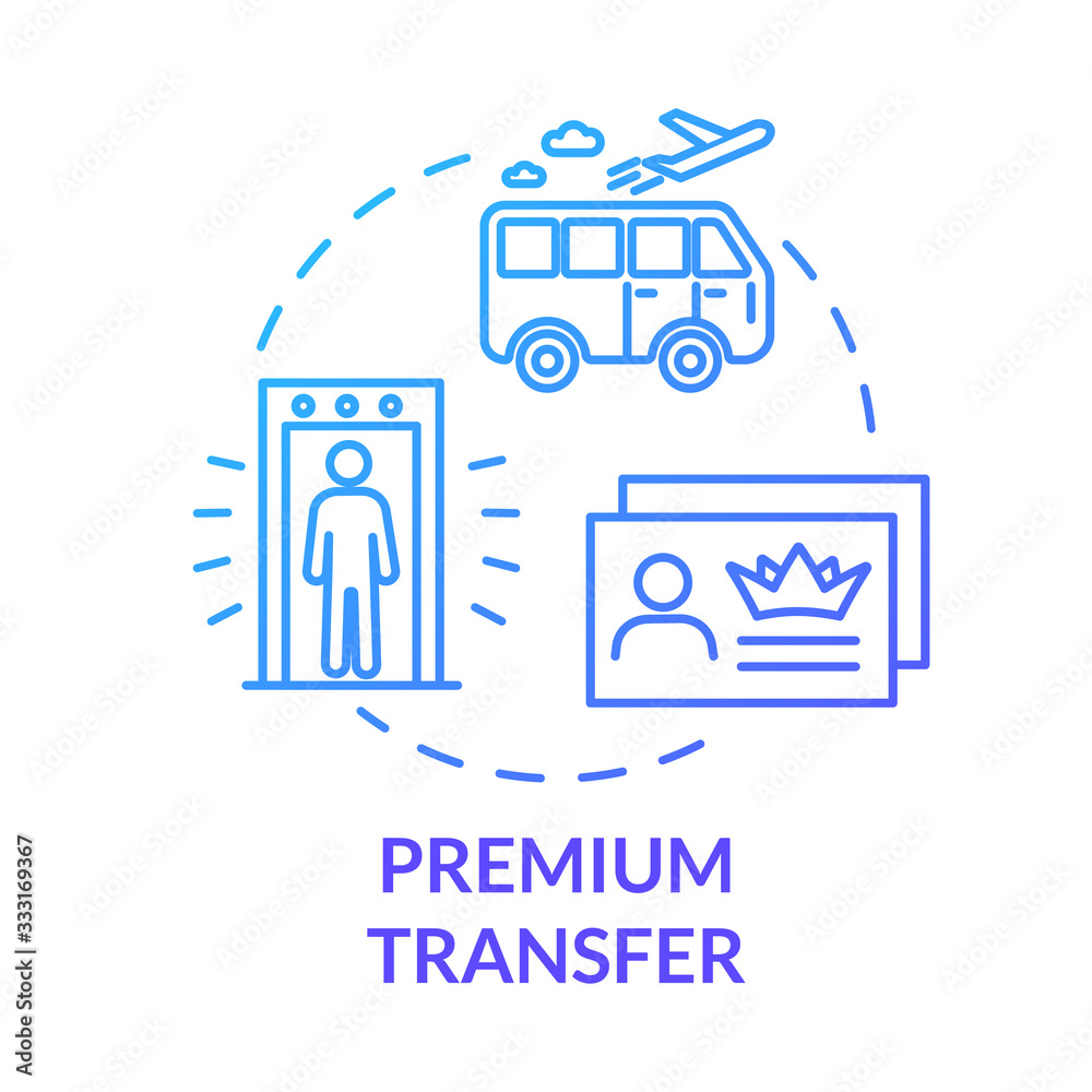 Fototapeta Premium transfer concept icon. Airline passenger luxury transport idea thin line illustration. Airport shuttle bus, VIP service. Vector isolated outline RGB color drawing