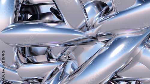 Vászonkép Abstract background with heap or hank of metallic chrome pipes
