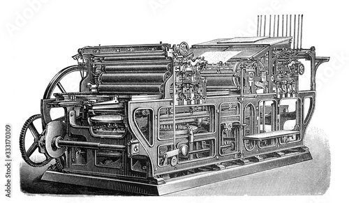 Vászonkép Antique automatic cylinder printing press /Old Antique illustration from Brockha