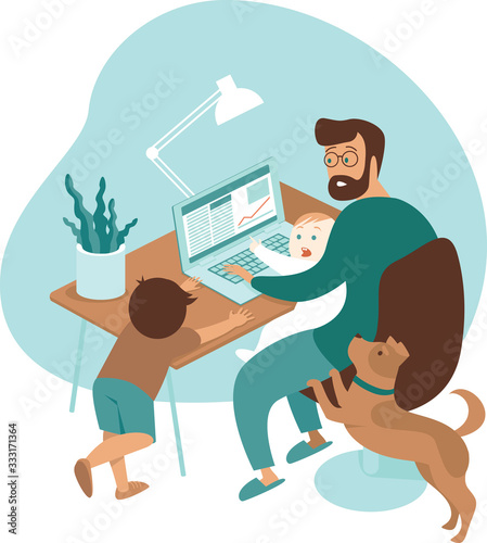 Busy father working from home with kids and dog