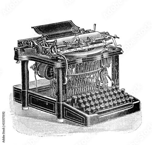 Antique typewriter / Old Antique illustration from Brockhaus Konversations-Lexik Canvas-taulu