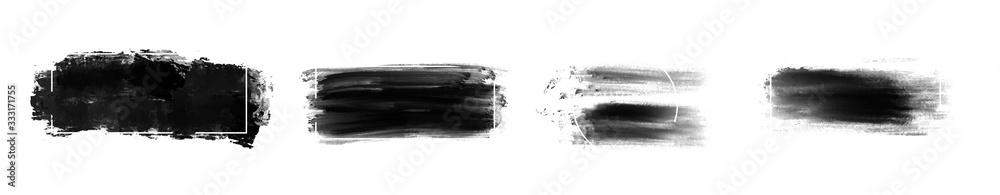 Fototapeta Black grunge stroke brush set for your design, vector...