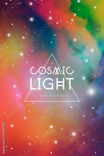 Hipster space background with colorful cosmic light, stars and text placeholder Canvas Print