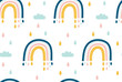 Seamless pattern with rainbow on white background. Vector